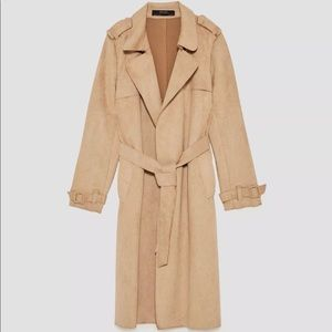 Zara faux suede trench coat